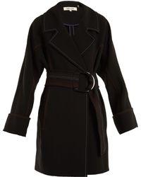 Diane von Furstenberg - Contrast-stitching Belted Crepe Coat - Lyst
