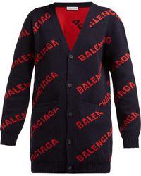 Balenciaga - Logo Jacquard Wool Blend Cardigan - Lyst