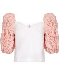 Rosie Assoulin - Morel Ruffle-sleeved Cotton Top - Lyst