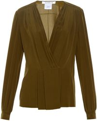 Givenchy - Pleated-front Silk-crepe Blouse - Lyst