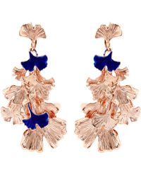 Aurelie Bidermann - Ginkgo Lacquered Rose Gold-plated Clip-on Earrings - Lyst