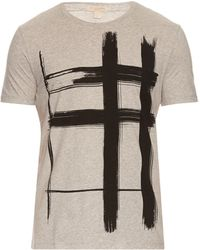 Burberry Brit - Brushstroke-checked Print Cotton T-shirt - Lyst