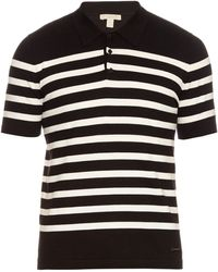 Burberry Brit - Striped Cotton-knit Polo Shirt - Lyst