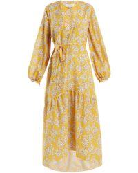 Borgo De Nor - Bouquet Printed Crepe Midi Dress - Lyst