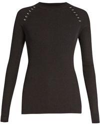 Mugler - Ring-embellished Long-sleeved Ribbed-knit Jumper - Lyst