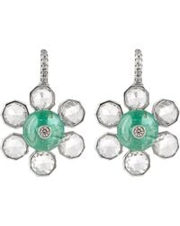 NSR Nina Runsdorf - Diamond, Emerald & White-gold Earrings - Lyst