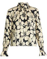 Trademark - Hibiscus-print Silk-twill Blouse - Lyst
