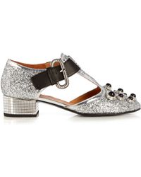 Toga - Mirrored-heel Glitter Court Shoes - Lyst