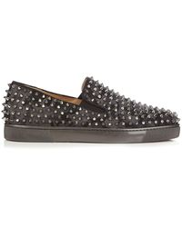 Christian Louboutin - Roller Boat Spike-embellished Low-top Trainers - Lyst