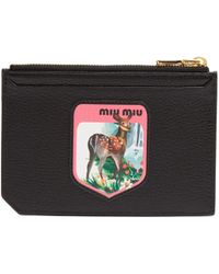 Miu Miu - Badge-appliqué Leather Cardholder - Lyst