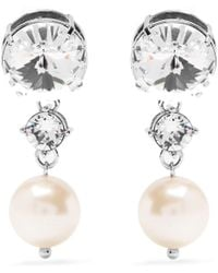 Miu Miu - Faux-pearl And Crystal Clip-on Earrings - Lyst