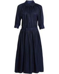Yohji Yamamoto Regulation - Gathered Sateen Dress - Lyst