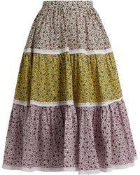 Anna October - Contrast-print Cotton Skirt - Lyst