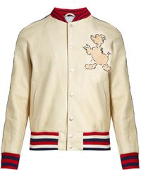 Gucci - Donald Duck©-embroidered Leather Bomber Jacket - Lyst