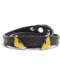 Fendi - Bag Bugs Double-wrap Leather Bracelet - Lyst