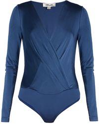 Diane von Furstenberg - Long Sleeved Wrap-effect Bodysuit - Lyst