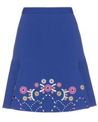 Peter Pilotto - Geometric-embroidered Fluted Cady Mini Skirt - Lyst