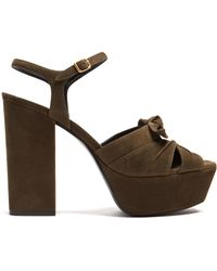 Saint Laurent - Farrah Suede Platform Sandals - Lyst