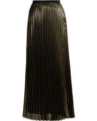Galvan London - Pleated Lamé Midi Skirt - Lyst