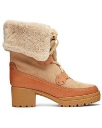 See By Chloé - Eileen Lace-up Shearling And Suede Boots - Lyst