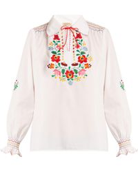 Muzungu Sisters - Dora Floral-embroidered Cotton Shirt - Lyst