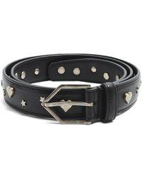 Saint Laurent | Heart And Star Embellished Leather Belt | Lyst