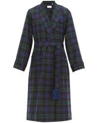 Derek Rose Black Watch Tartan Wool Dressing Gown - Green