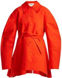 Awake - - Raw Edge Tie Fastening Cotton Coat - Womens - Red - Lyst