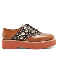 Miu Miu - Stud-embellished Lace-up Leather Shoes - Lyst