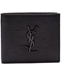 Saint Laurent - Monogram Crocodile-effect Bi-fold Leather Wallet - Lyst