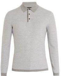 Ermenegildo Zegna - Long-sleeved Wool And Cashmere-blend Polo Shirt - Lyst