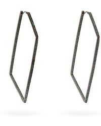 Lynn Ban - Tsavorite & Rhodium Plated Geometric Earrings - Lyst