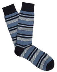 Pantherella - Solitaire Striped Cotton-blend Socks - Lyst