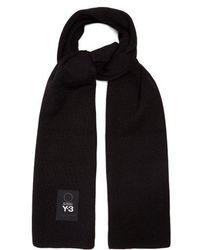Y-3 - - Logo Patch Wool Scarf - Mens - Black - Lyst
