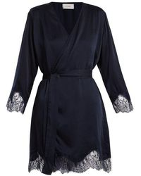 Icons - Lily Lace-trimmed Silk-satin Kimono - Lyst