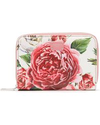 Dolce & Gabbana - Rose And Peony Print Leather Wallet - Lyst