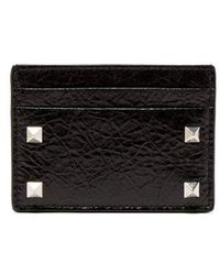 Valentino - Rockstud Cracked-leather Cardholder - Lyst
