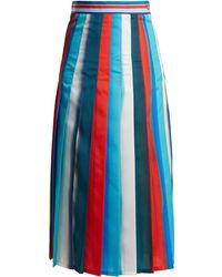 Stella Jean - Pleated Striped Crepe Midi Skirt - Lyst