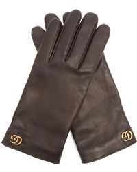 Gucci - Gg-plaque Leather Gloves - Lyst