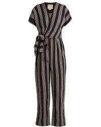 Ace & Jig - Striped V-neck Wrap Cotton Jumpsuit - Lyst