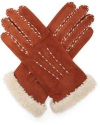 Agnelle - Suede And Wool-trimmed Gloves - Lyst