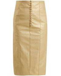 Hillier Bartley - Metallic Buttoned Faux Leather Pencil Skirt - Lyst