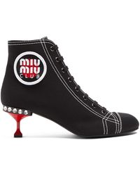 Miu Miu | Contrast Stitch Logo-patch Canvas Ankle Boots | Lyst
