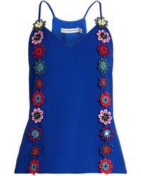 Mary Katrantzou | Osbourne Floral-lace Embellished Crepe Cami Top | Lyst