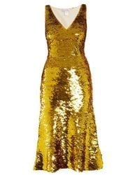 Oscar de la Renta - V-neck Sequin-embellished Silk-blend Dress - Lyst
