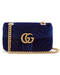 f73c6d393458f Lyst - Gucci GG Marmont Mini Embellished Quilted-velvet Cross-body ...