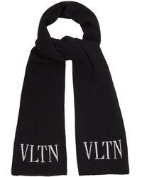 Valentino - Logo-intarsia Wool And Silk-blend Scarf - Lyst
