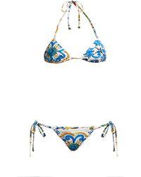 c65fc5e35d Dolce   Gabbana Majolica Printed Bikini in Blue - Lyst