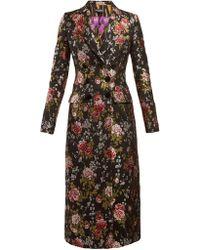 Dolce & Gabbana - Floral Jacquard Long Coat - Lyst
