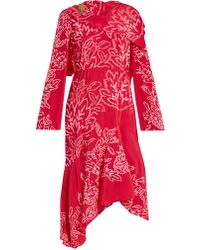 Peter Pilotto - Floral-embroidered Silk-crepe Dress - Lyst